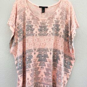 Forever 21 Orange Tribal Knit Shirt Medium